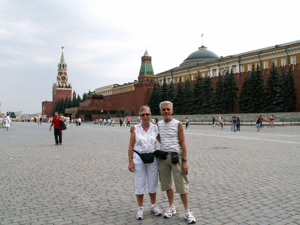 Aase og Thorkild på Den røde Plads i Moskva