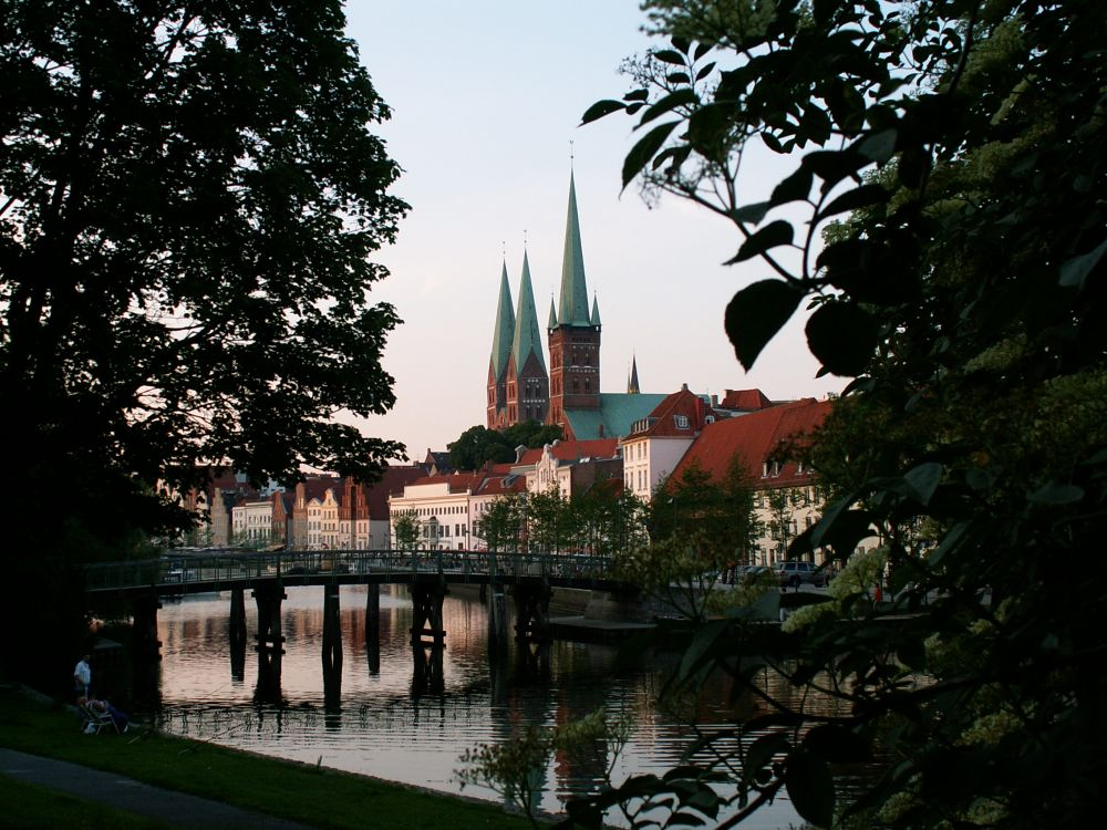Aftenstemning ved Obertrave i Lübeck