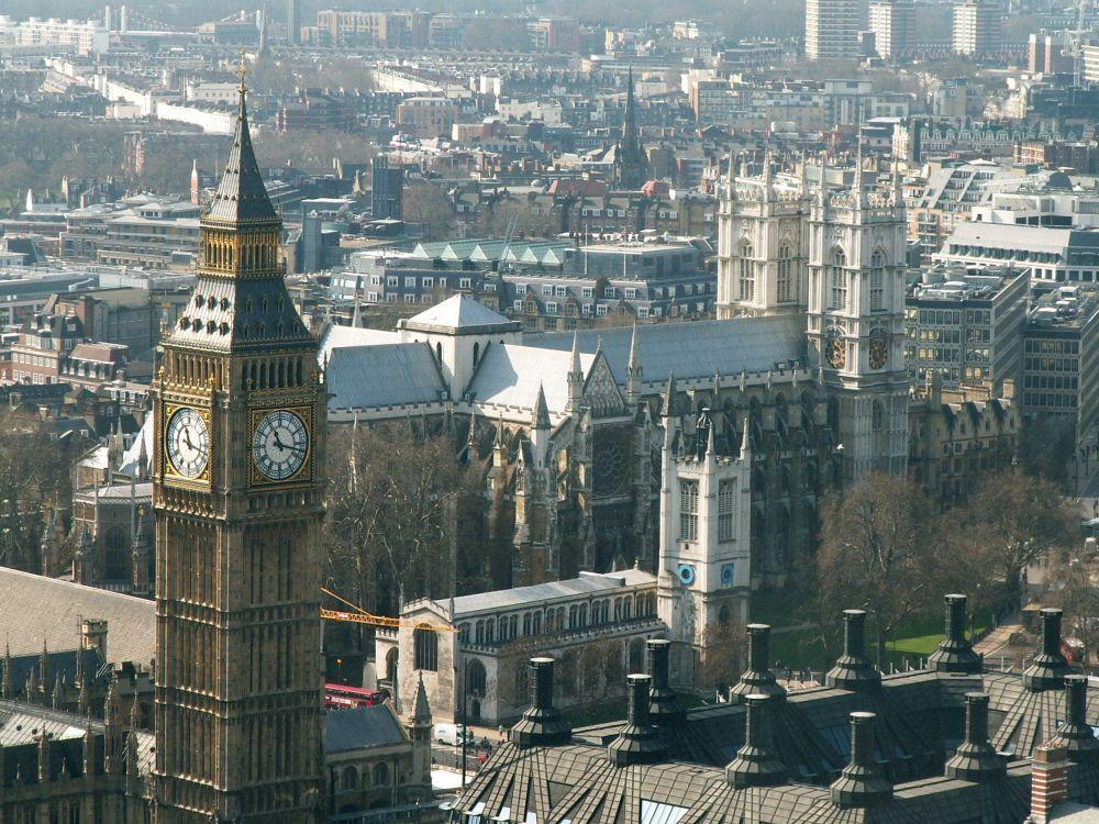 Big Ben og Westminster Abbey fra Londons Øje