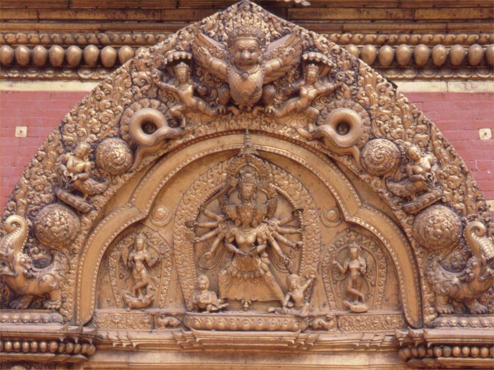 Detalje af Den gyldne Port i Bhaktapur