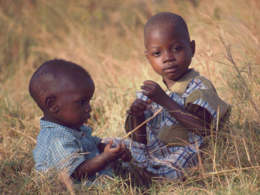Børn i græsset