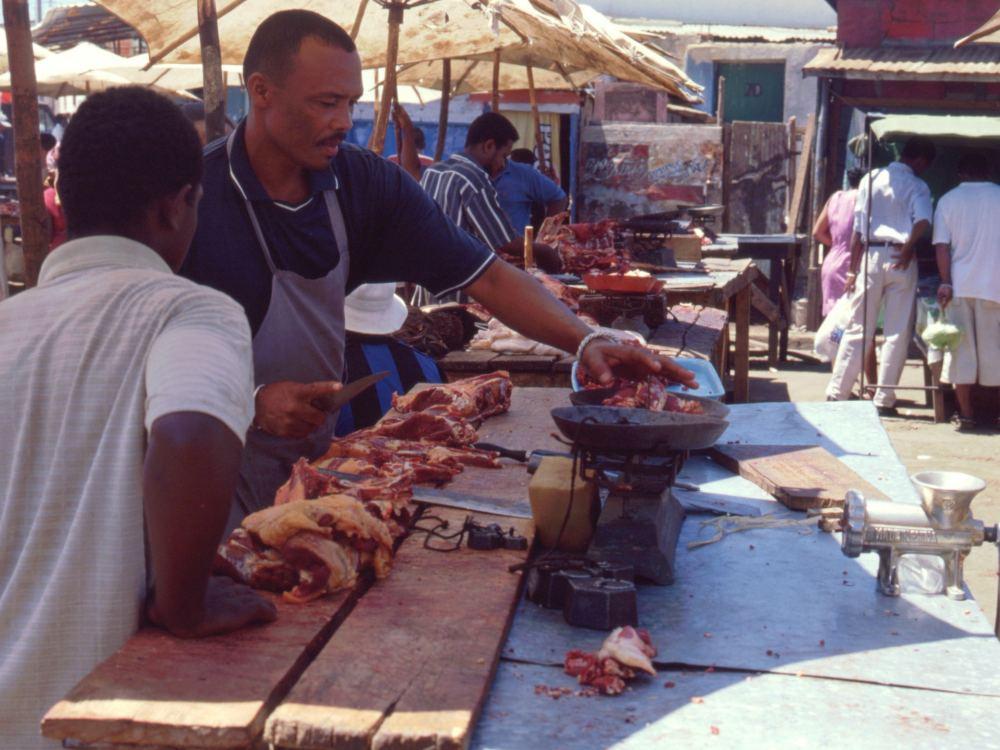 Slagter på en marked