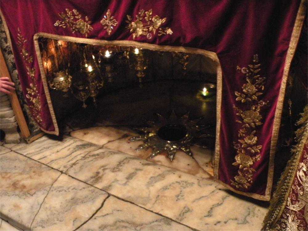 Stjernen der markerer fødselsstedet i krypten