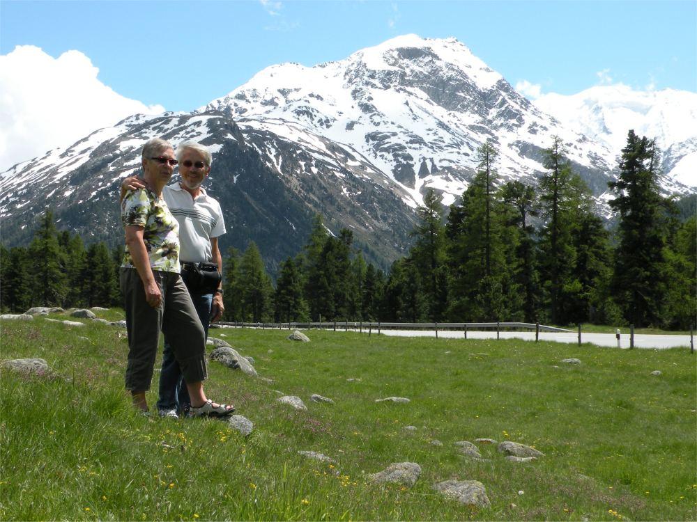 Aase og Thorkild ved Berninagletcheren