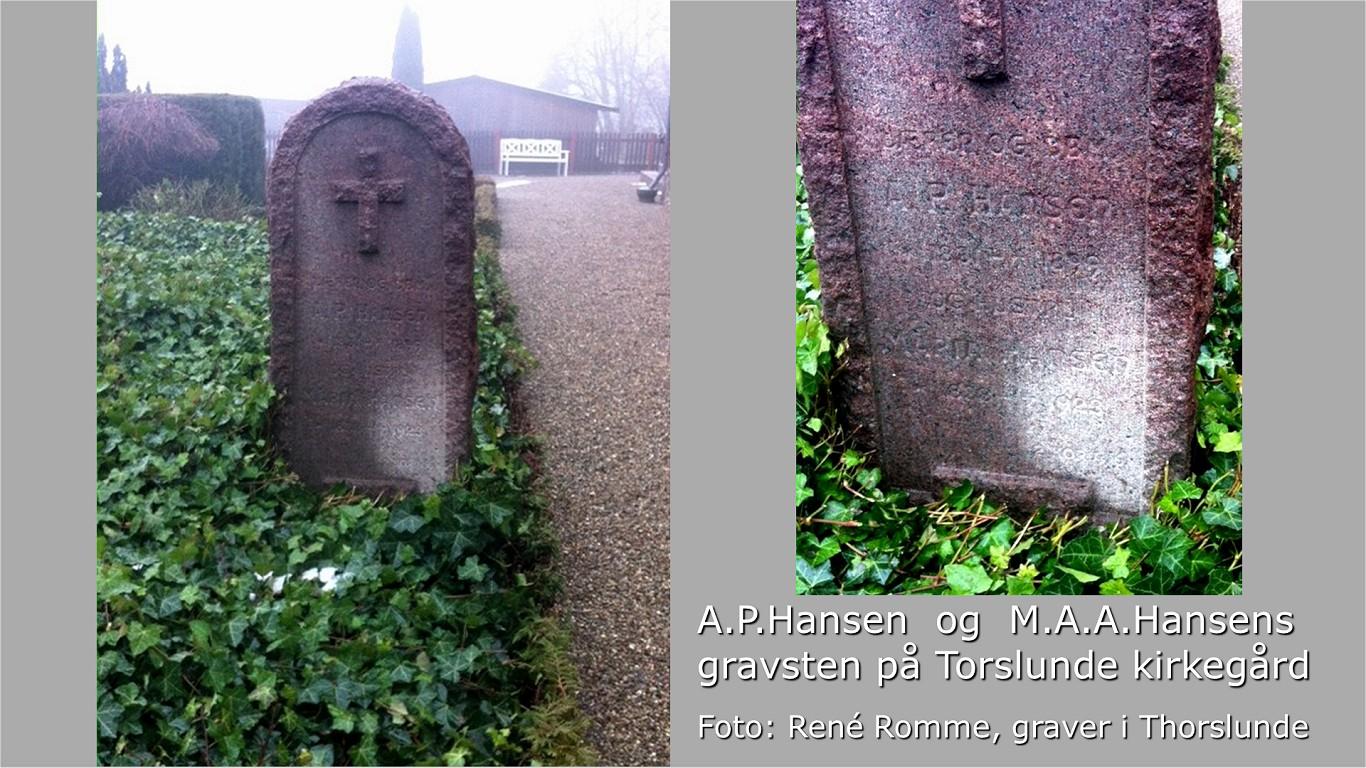 APHansens gravsten fra graveren i Torslunde