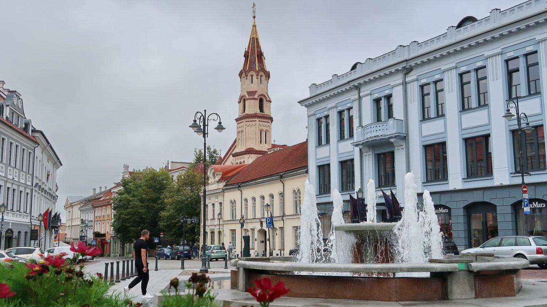 Fra rådhustorvet mod hovedgaden i Vilnius