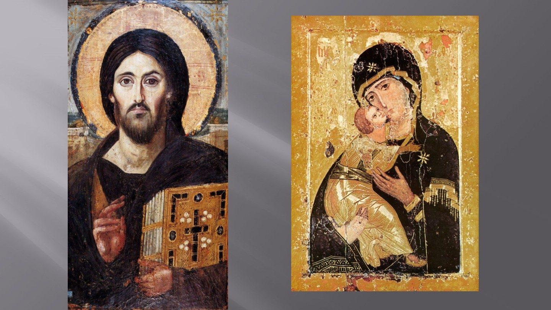 Kristusikonen fra Katharinaklosteret og Vladimirikonen