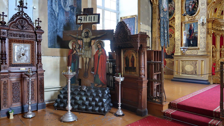 Korsfæstelsesikon med Maria og Johannes.