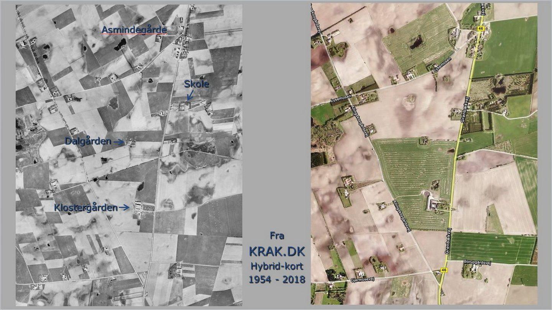 Luftfoto over Dalgården 1954 og 2018