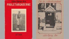 Eddie Alrøs bøger. Til venstre Eddie, som jeg husker ham. Til højre er forsiden et billede af indgangsdøren til Langelinie Skole.