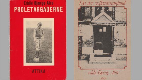 Eddie Alrøs bøger. Til højre er forsiden et billede af indgangsdøren til Langelinie Skole.