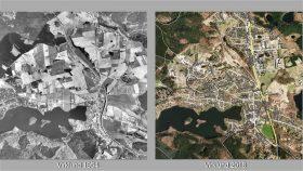 Virklund 1954 og 2018 - bebyggelsen ses tydeligt.